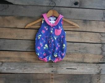 Vintage Children's Blue Summer Romper with Pink Polka Dots by Gymboree Size Newborn