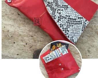 Snake leather bag, Red leather bag, Red leather purse, Single pocket purse , Leather accessories, Wallet case, Purse insert, Envelope wallet