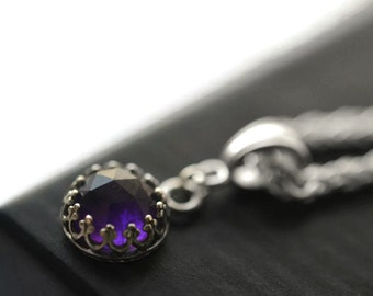 Purple Amethyst Pendant, Simple Sterling Silver Minimalist Tiny Rose Cut Natural Gemstone Necklace, Dainty Metaphysical Crystal Jewelry