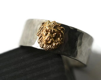 14K Gold Lion Ring, Personalized Sterling Silver Ring, Men's Wedding Band, Women's Wedding Ring, 8mm Wide Ring, Custom Engraved Animal Ring