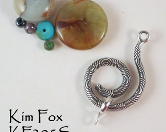 Spiral Clasp and/or bail in Silver with Chartres Pattern designed by Kim Fox