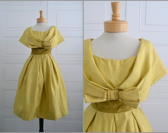 1950s Jacques Heim Mustard Silk Dress