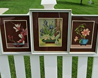 Trio of Framed Vintage GOES Prints Wall Hangings - Elegant MCM Floral Still Life Lithos - Perfect Floral Wall Hangings for Your Vintage Home
