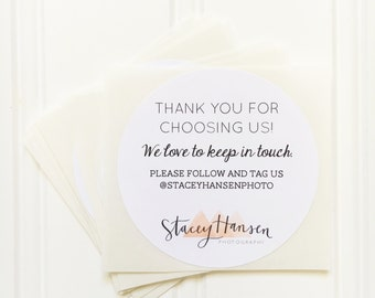 White Round Circle Custom Thank You Stickers / Instagram Handle Labels – Etsy Seller Packaging, Small Business, Social Media, Photography