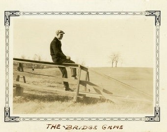 "Vintage Photo ""A Spy Plays Many Games"" Man Fence Snapshot Old Antique Photo Black & White Photograph Found Paper Ephemera Vernacular - 54"