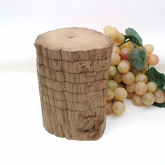 Cypress Wood Coaster Set Wooden Drink Coasters Log By