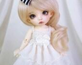 Cream ruffle dress for PukiFee, Lati Yellow