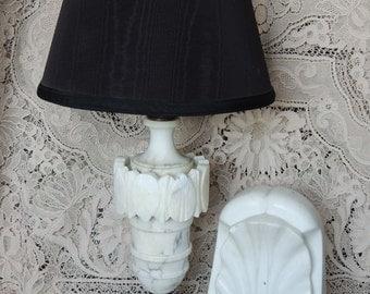 Vintage Tall White Alabaster Lamp / White Table Lamp / Alabaster Lamp / Italian Alabaster Lamp/ Alabaster Table Lamp / Tall Table Lamp