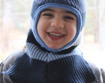 Warm Balaclava / kids / Children's Hat / Ski Mask / Waldorf / Boys Blue Stripe