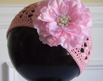 "Pink Crocheted Beanie Hat for 3-5Yr w/ 4"" Pink Silk Flower & Rhinestone Pearl Center on Alligator Clip Photo Prop Portraits Birthdays"