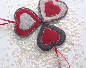 FELT HEART ornaments - handcrafted from 100% wool felt - Valentine's decorations
