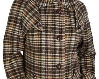Preppy Size 8 Women's Nicely Tailored Wool Plaid Coat