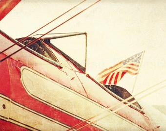 Salute, Aviation Photography, Fine Art Print, Antique Airplane, American Flag, Red, Aeronautical Wall Art, Biplanes, Vintage Home Decor