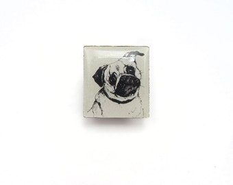 Pug Illustration Tile brooch.