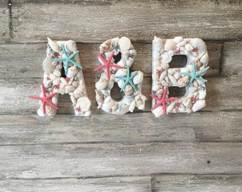 Decorative Letters, Seashell Letters, Custom Letters, Beach Letters, Beach Wedding Decor, Beach Decor, Wedding Initials, Seashell Decor