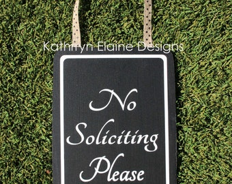 No Soliciting Please Rectangle Wooden Sign