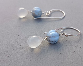 Reserved Pale Blue Earrings with Sterling Silver and White Chalcedony