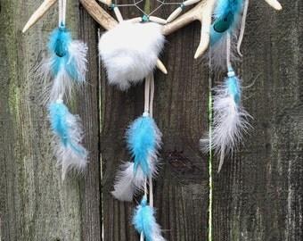 Deer Antler Dreamcatcher Turquoise Dream Catcher Native Inspired Dreamcatcher Tribal Dream Catcher Studio Decor Photo Prop Western Decor