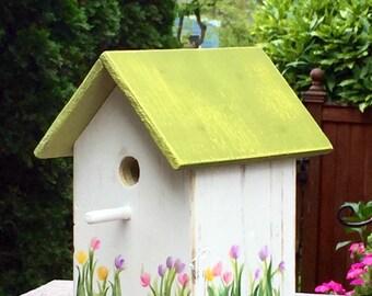 Custom Birdhouse with Tulips