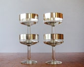 RESERVED Four Mid Century Thorpe Silver Band Champagne Glasses