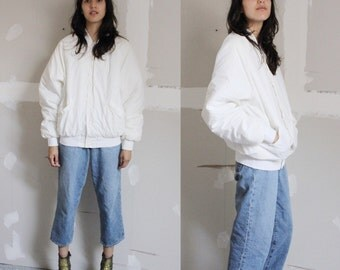 Vintage 90s Solid Ivory Bomber Jacket XS-S
