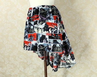 "Walking Dead High Low Mini Cecilia Skirt, No Ruffle -- Michonne Print -- Ready to Ship -- Fits Up To 54"" Waist"