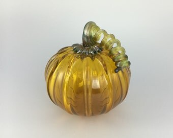 """5"""" Glass Pumpkin by Jonathan Winfisky - Transparent Gold Topaz - Hand Blown Glass"""