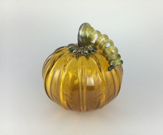 "5"" Glass Pumpkin by Jonathan Winfisky - Transparent Gold Topaz - Hand Blown Glass"
