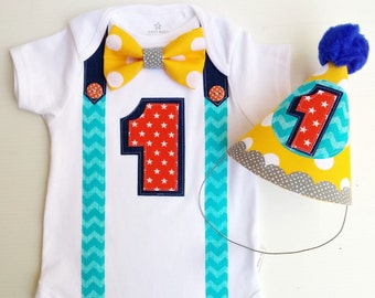 1st Birthday Boy Bodysuit and Party Hat Summer Fun Bow Tie  All In One One Piece Bodysuit Birthday Party