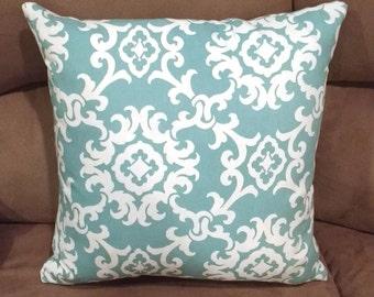 GRATITUDE Throw Pillow 18x18 inches Aqua Home Decor Turquoise Teal Decorative Pillow Cover Coordinating Home Decor Bananabunch Kimberly