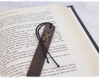 Love Infinity Bookmark, Leather Anniversary Bookmark, 3rd Anniversary Gift Bookmark, Friendship Leather Bookmark, Eternity Symbol Bookmark