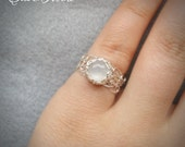 925 Silver Crochet Ring with Moonstone - Wire Crocheted Sterling Silver & Moonstone - Any Size - MADE TO ORDER