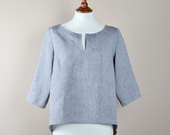 Linen tunic, Hi low tunic, grey tunic, linen shirt, women's blouse, feminine tunic, linen blouse, grey blouse, loose tunic, spring fashion