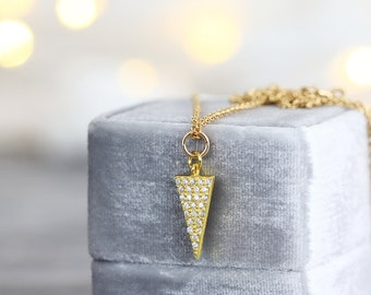 Cubic Zirconia Necklace - Gold Triangle Necklace - Minimalist Necklace - Cubic Zirconia Pendant - Modern Necklace - Gold Necklace for Her