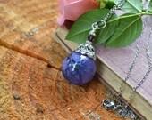 Purple Hydrangea Resin Orb Pendant Real Pressed Flower Jewelry