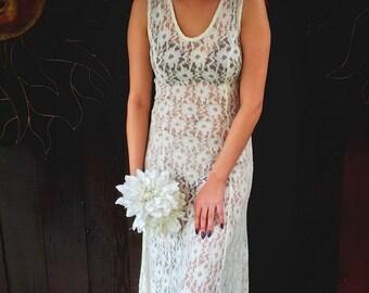 SALE TEN DOLLARS, Vintage 1980's Cream Lace Dress, Alternative Bridal Wear, Lace Tank Dress, Form Fitted Cream Lace Dress