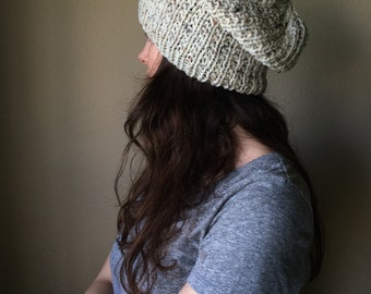 Tweed Cream Slouchy Knit Hat / Neutral Ivory Slouch Hat / Vegan Yarn