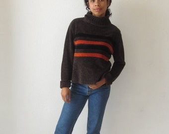 Striped turtlenck sweater Brown Orange striped jumper Ribbed long sleeve shirt