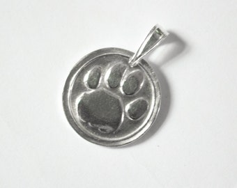 Dog paw print necklace , Dog Paw Pendant , Paw necklace , Dog lover necklace , Silver Paw print necklace , Dog lover gift , Wax seal pendant