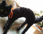 Vintage Halloween Black Cat, 17x4x12in, Sparkly Fur, Big Yellow Eyes, Button Nose n Wiskers, With an Orange Ribbon Bow, Spooky Decor,
