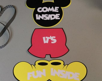 Mickey Mouse Door Sign, DIY Mickey Mouse Banner, Mickey Bedroom Door Sign, Come Inside Its Fun Inside, DIY Project