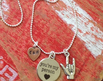 """Personalized  """"your my person"""" , heart copper initial charm and """"I love you"""" sign language pendant necklace"""