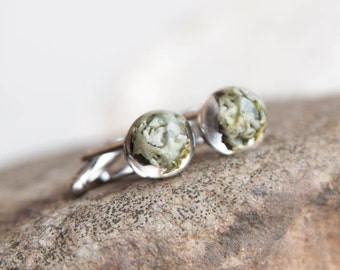 Lichen cufflinks - resin handcrafted outdoorsmen idea for him - brother dad husband gift - outdoorsy guy awesome gift under 25