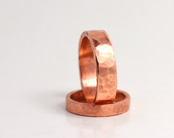 Wedding Ring Set His and Hers 7th Anniversary Forged And Hammered Copper Rustic Minimalist rings WRS#100