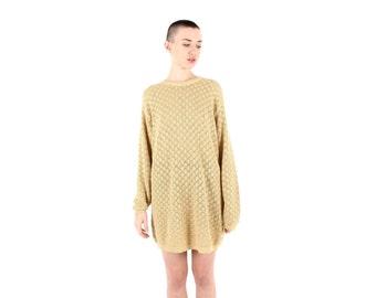 80s Gold Metallic Lurex Glitter Knit Longline Oversized Slouchy Sweater Dress