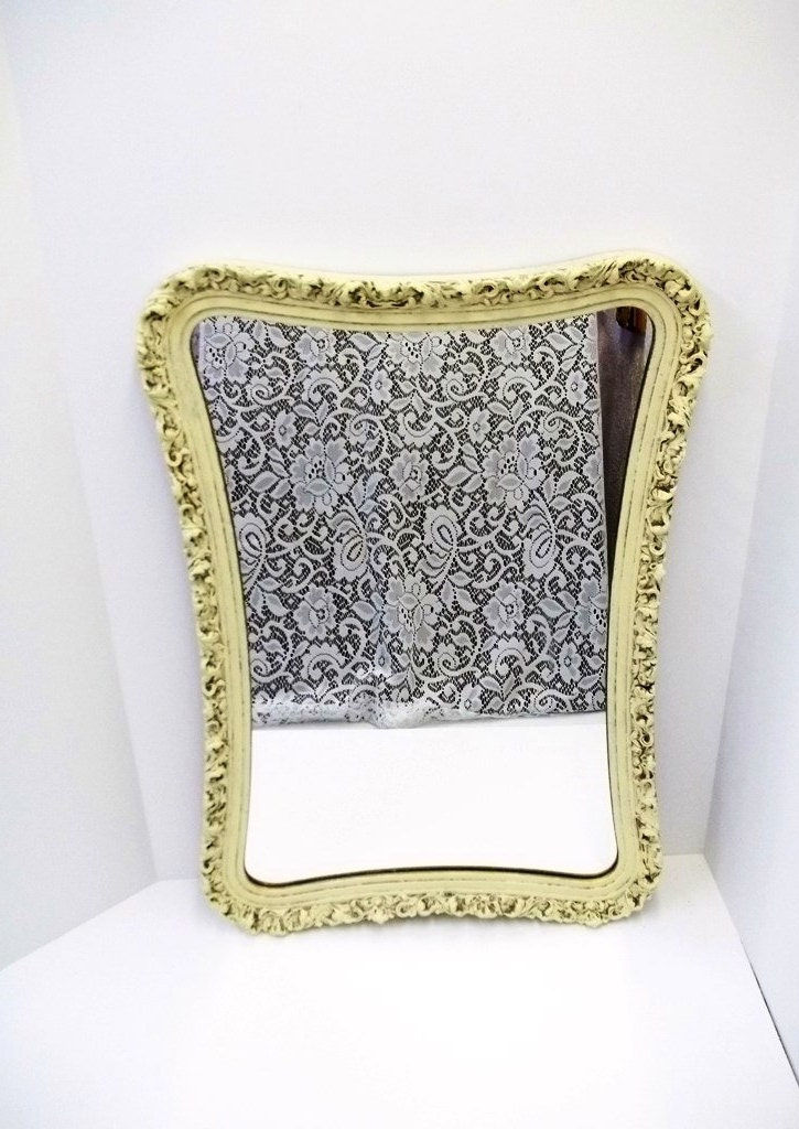 Ornate antique white wall mirror unusual shape by dondilights - Unusual large wall mirrors ...