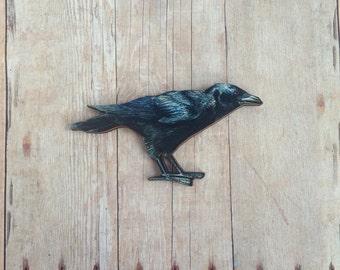 Raven Brooch Crow Pin Edgar Allan Poe Jewelry