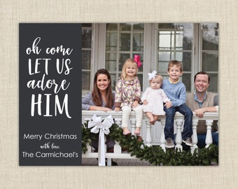 Religious Christmas Cards. Christian Photo Christmas Cards.  Oh come let us adore Him