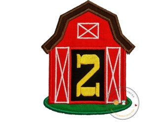 Red barn birthday number two iron on applique, Farm yard birthday number 2 embroidered patch, country second birthday iron on, ready to ship