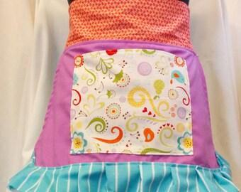 Purple/Aqua Girls Children's Half Apron/Baking Apron/Play Apron